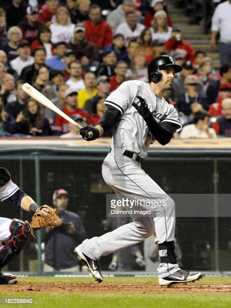 Centerfielder Jordan Danks of the Chicago White Sox bats during a game against the Cleveland Indians on September 25 2013 at Progressive Field in...