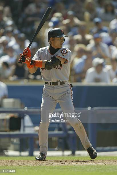 Centerfielder Tsuyoshi Shinjo of the San Francisco Giants readies at the plate against the Los Angeles Dodgers during the MLB game on July 20 2002 at...