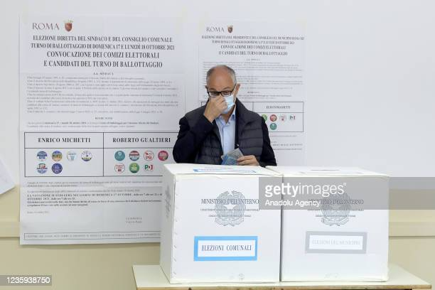 Center-left candidate Roberto Gualtieri arrives at a polling station to vote for the runoff elections for mayor in Rome, Italy, on October 17, 2021....