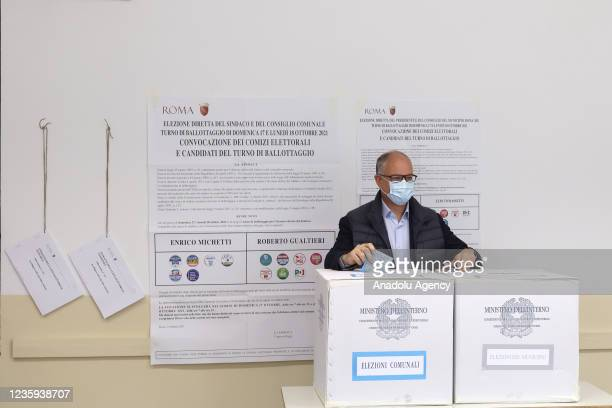 Center-left candidate Roberto Gualtieri casts his vote for the runoff elections for mayor at a polling station in Rome, Italy, on October 17, 2021....