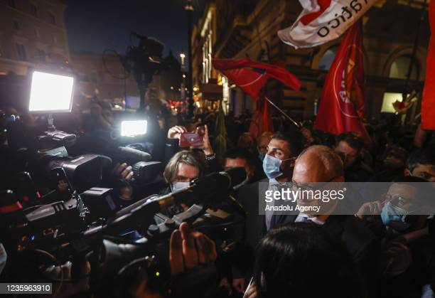 Center-left mayoral candidate Roberto Gualtieri celebrates with his supporters in downtown Rome, Italy, on October 18, 2021. Gualtieri claims victory...