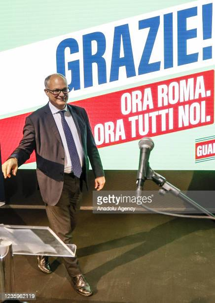 Center-left mayoral candidate Roberto Gualtieri meets the press at his electoral committee headquarters in Rome, Italy, on October 18, 2021. First...