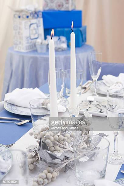 Centerpiece with Shabbat candles