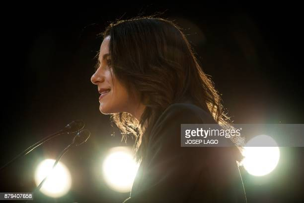 Centerright party Ciudadanos candidate for the upcoming regional election in Catalonia Ines Arrimadas gives a speech during a meeting to present the...