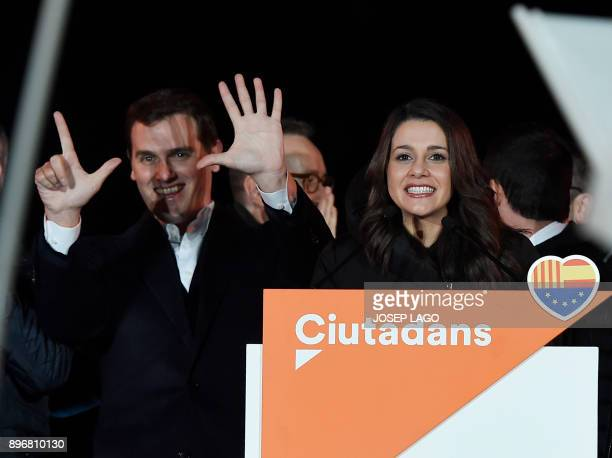 Centerright party Ciudadanos candidate Ines Arrimadas and the party leader Albert Rivera celebrate their polls results in the Catalan regional...