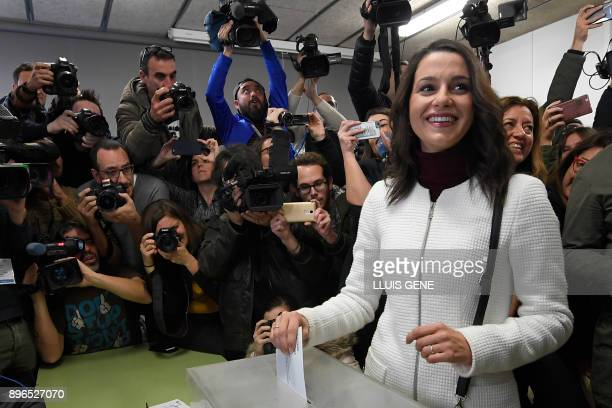 TOPSHOT Centerright party Ciudadanos candidate Ines Arrimadas casts her ballot for the Catalan regional election at a polling station in Barcelona on...