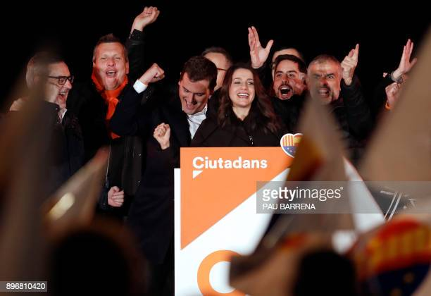 Centerright party Ciudadanos candidate Ines Arrimadas the party leader Albert Rivera and candidate Carlos Carrizosa celebrate their polls results in...