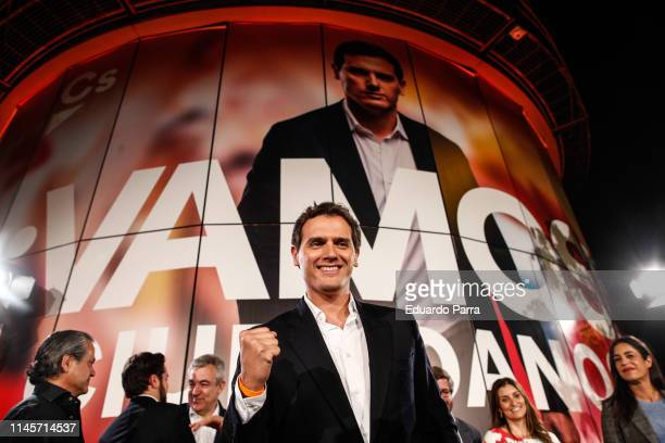 Centerright party Ciudadanos leader and party candidate Albert Rivera celebrating the official results of the Spanish general elections in Madrid on...