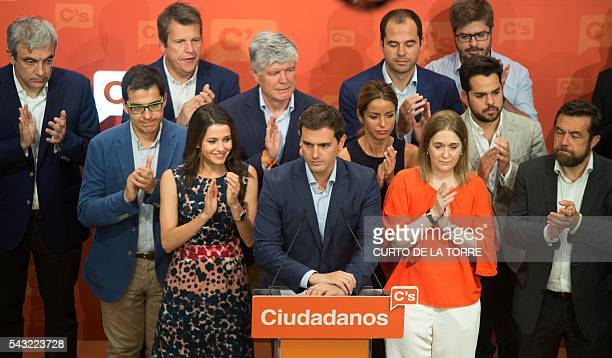 Centerright party Ciudadanos leader and party candidate Albert Rivera is applauded after delivering a speech at the centerright party Ciudadanos's...