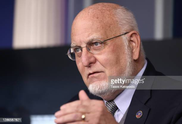 Centers for Disease Control and Prevention Commissioner Robert Redfield speaks during a White House Coronavirus Task Force press briefing in the...