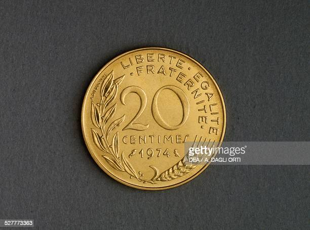 20 centimes coin reverse olive branch and ear of wheat France 20th century
