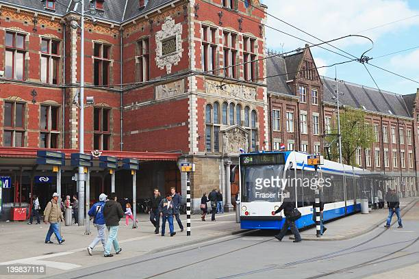 Centraal Station and trams, Amsterdam, Netherlands