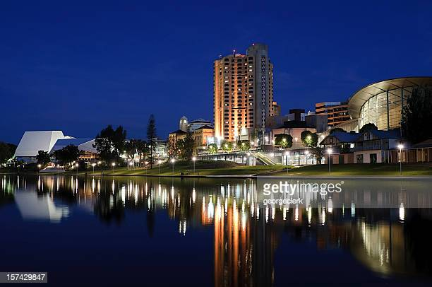 central adelaide at night - adelaide stock pictures, royalty-free photos & images