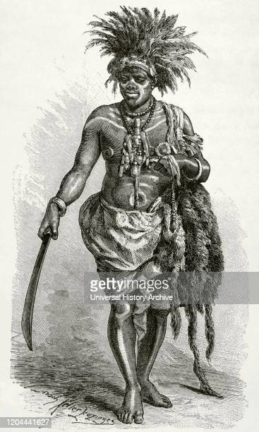 Central Africa. Kingdom of Loango . Exorcist healer from the coast of Loango. Engraving. Africa inexplorada, el Continente Misterioso by Henry Morton...