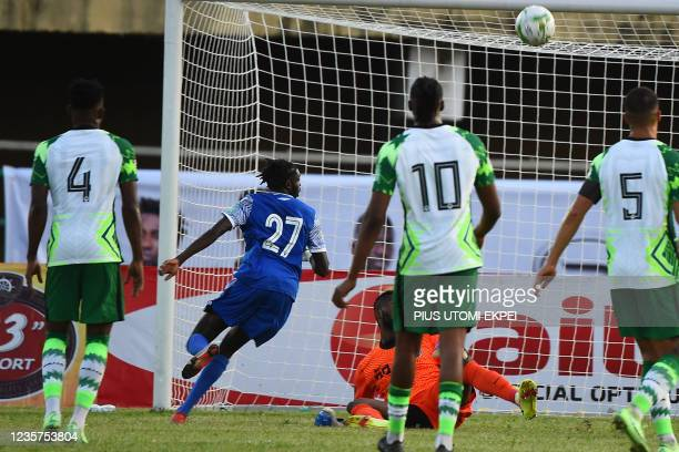 Central Africa Republic's forward Karl Namnganda scores the opener during the 2022 Qatar World Cup African qualifiers group 3 football match between...