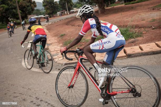 Central African cyclist Fatoumata rides during a weekly training session with Bangui's cycling team on October 26 in Bangui The country is...