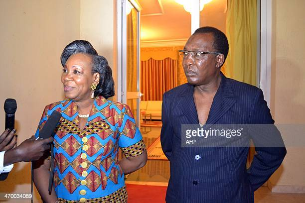 Central African interim President Catherine Samba Panza answers reporters' questions after her meeting with Chadian President Idriss Deby Itno in...