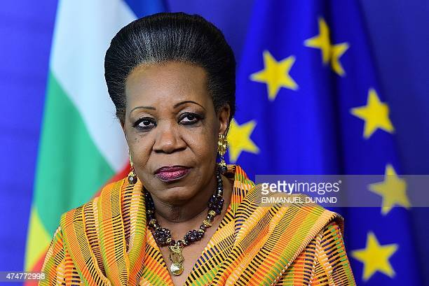 Central African Republic interim President Catherine Samba-Panza gives a press conference concerning the Bekou EU trust fund for the Central African...