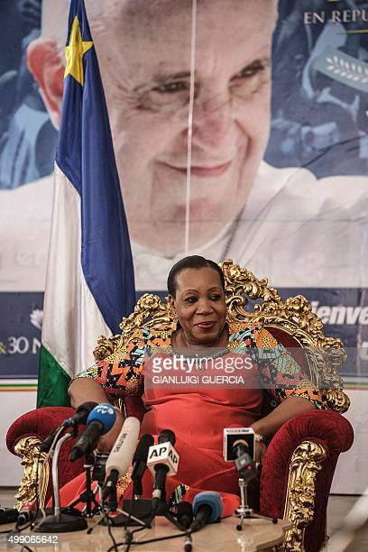 Central African Republic interim president Catherine Samba-Panza looks on during a press conference on November 28, 2015 at the presidential Palace...