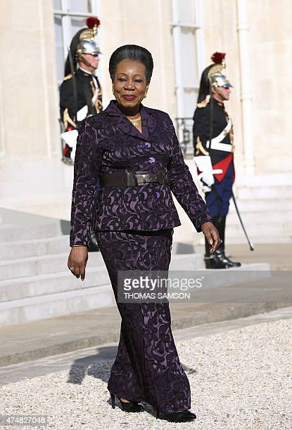 Central African Republic Interim President Catherine Samba-Panza leaves the Elysee Palace in Paris after a meeting with French President Francois...