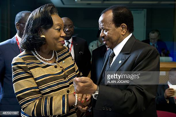 Central African Republic President Catherine Samba-Panza greets Cameroon President Paul Biya during a mini-summit dedicated to the Central African...