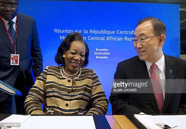Central African Republic President Catherine Samba-Panza shares a joke with United Nations Secretary-General Ban Ki-moon during a mini-summit...