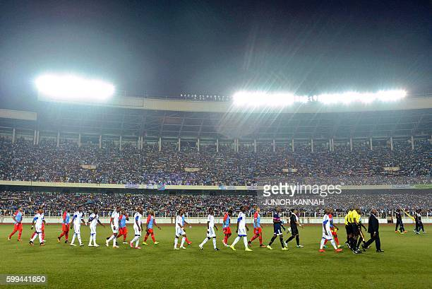 Central African Republic 's and Democratic Republic of the Congo players enter the field prior to the 2017 African Cup of Nations qualifying football...