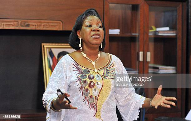 Central African Republic transitional President Catherine Samba-Panza gestures as she makes a statement on January 31 at the presidential palace in...