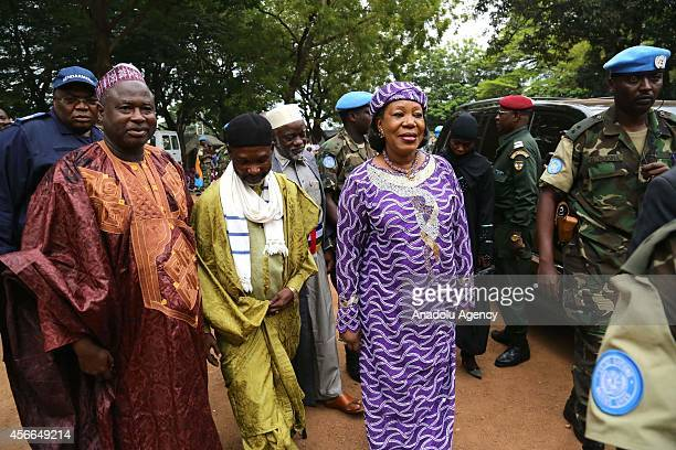 Central African Republic's interim President Catherine Samba-Panza arrives at the Central Mosque to greet Muslims following the Eid al-Adha prayers...