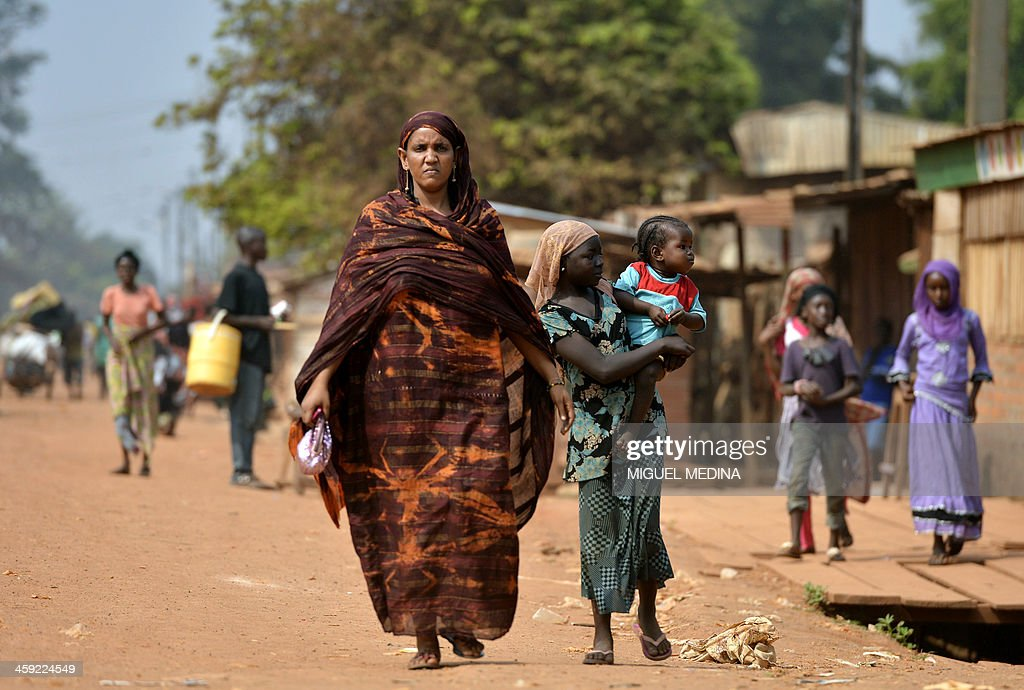 Central African Women Walk In The Pk5 Neighborhood In