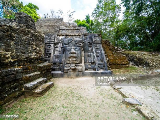 central america, belize, yucatan peninsula, new river, lamanai, maya ruin, lamanai mask temple - old ruin stock pictures, royalty-free photos & images