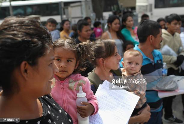 Central American immigrant families prepare to visit a Catholic Charities respite center after being released from ICE custody on June 11 2018 in...