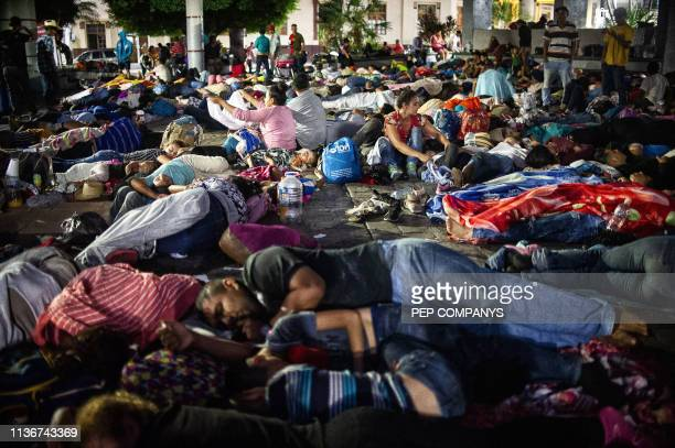 Central American migrants heading in caravan to the US rest during a stop in their journey at park Hidalgo in Tapachula Chiapas state Mexico on April...