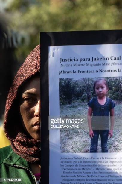 Central American migrants traveling in a caravan hold a demonstration following the death of 7year old Jakelin Amei Rosmery Caal who died in a Texas...