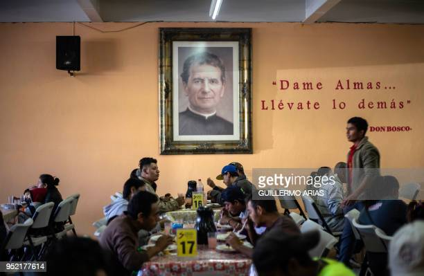 Central American migrants travelling in the Migrant Via Crucis caravan have breakfast at the Padre Chava's kitchen soup before receiving legal...