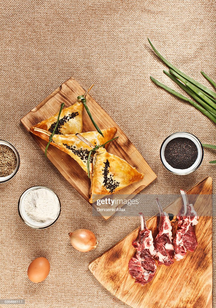 Central Asia food - khachapuri with lamb leg : Stock Photo