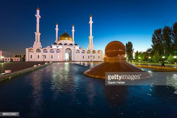 Central Asia, Kazakhstan, Astana, Nur Astana Mosque at dusk