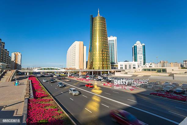 Central Asia, Kazakhstan, Astana, Twin golden conical business centres