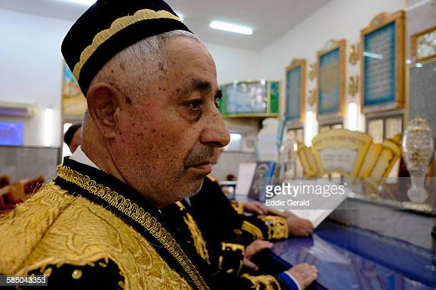 Central Asian Jews of the khanate of Bukhara in traditional garment praying during High Holy Days before Yom Kipur the holiest day in Jewish calendar...