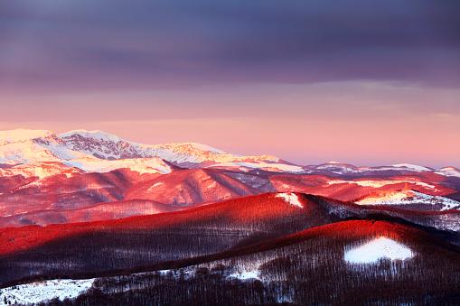 Balkan Mountains, Bulgaria - December 2012: Central Balkan Ridge - gettyimageskorea