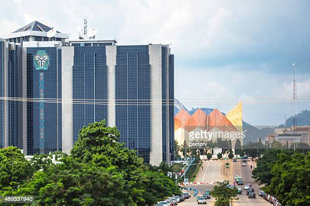 central bank of nigeria headquarters in abuja. - nigeria stock pictures, royalty-free photos & images