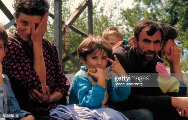Central Bosnian Croat refugees fr. Kakanj after 2-mo. Move through Muslim & Serb-held land to HVO-held Capljina, in civil war-torn ex-Yugoslav...