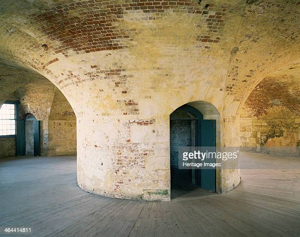 Central brick pier on the first floor of the keep Hurst Castle Hampshire 1994 Hurst Castle was a sophisticated coastal fortress built by Henry VIII...