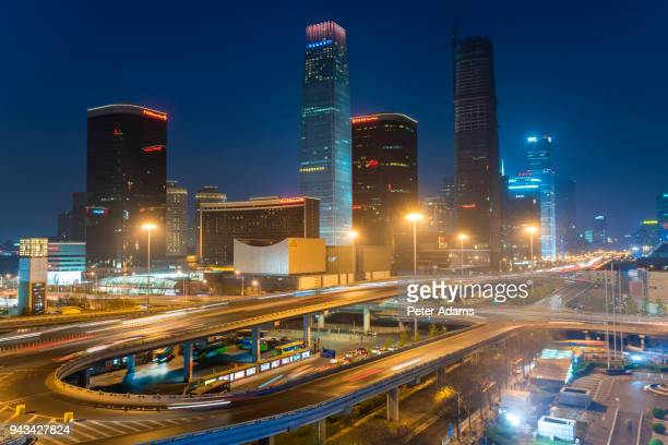 central business district at dusk, beijing, china - peter adams stock pictures, royalty-free photos & images