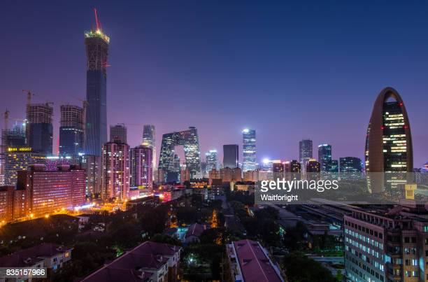 central business district at night,beijing,china - 中国北東部 ストックフォトと画像