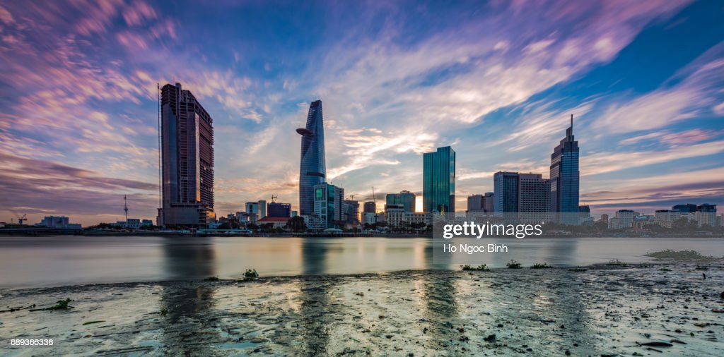 Central Business District of Ho Chi Minh city in sunset : Stock Photo