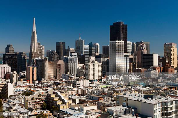 Central business district skyline with Transamerica Pyramid as seen from Russian Hill