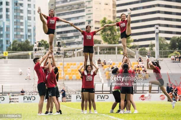 Central Cheer Allstars cheerleaders performance during the Opening of Rapid Rugby match between the South China Tigers and Western Force at Aberdeen...