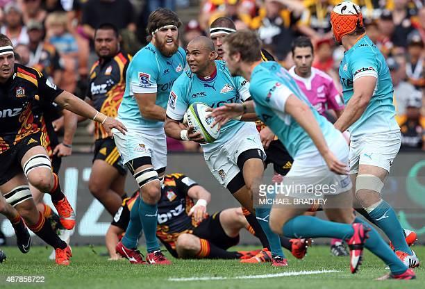 Central Cheetahs' Cornal Hendricks runs the ball forward during the Super 15 rugby match between the Waikato Chiefs and the Central Cheetahs at...