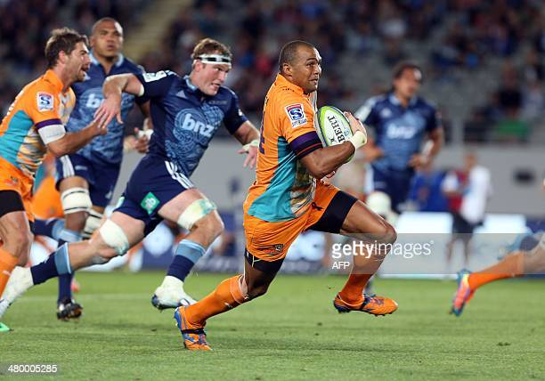 Central Cheetahs player Cornal Hendricks runs with the ball during the Super 15 rugby match between the Auckland Blues and Central Cheetahs at Eden...